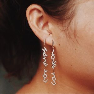 Jewelry - I love you fashion earrings in silver brand new